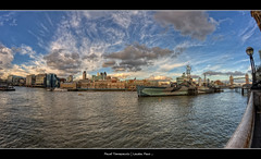 29.2012 - HMS.Belfast.Pano.London.F..tif (Pawel Tomaszewicz) Tags: uk england sky eye colors beautiful clouds photoshop canon eos europe angle image wide wideangle fisheye hdr fable hdri pawel chmury 3xp photomatix wyspa wyspy eos400d tomaszewicz paweltomaszewicz