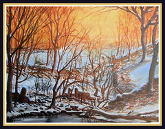 Colourful mediums. (RichiesART.) Tags: winter tree wall woods ruins gate acrylic tress drystonewall complimentarycolours