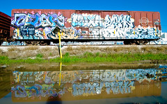 Cedar, Luxa, Bleak, Naka, Destn, Paeday, Optimist (TheHarshTruthOfTheCameraEye) Tags: california reflection water train de graffiti tim pop cedar bleak destn outsiders optimist northern freight lords nsf tfl naka ksw osd luxa benching kbt paeday