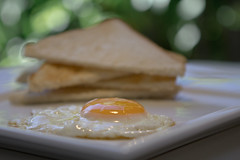 Breakfast (Serena178) Tags: breakfast bread triangle bokeh toast stack eggs fried yolk