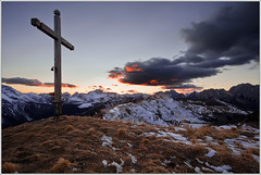 The Cross (Patrick Giardina) Tags: blue trees winter light sunset red wild sky italy panorama snow mountains tree nature colors yellow clouds forest montagne canon march italia tramonto nuvole cross natura crest campana giallo cielo neve 5d belvedere viewpoint inverno rosso colori marzo luce 2012 croce bosco friuli markii sauris selvaggio mygearandme mygearandmepremium mongerleit