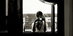la fenêtre (monyart) Tags: light shadow portrait blackandwhite bw woman sun white selfportrait me girl amsterdam contrast dark myself hand reflected girlpower biancoenero monyart