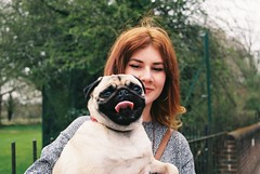 (The Master & Marisa) Tags: dog colour film girl analog 35mm asahi pentax pug hampshire teen 200 indie teenager fujifilm analogue winchester mx
