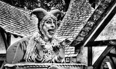 CAN'T SLEEP...CLOWNS WILL EAT ME!!!! (Gabe Oram) Tags: blackandwhite bw festival contrast crazy scary jester puppet clown medieval sterling renaissance