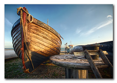 Bow to the left.... (Mark Leader) Tags: wood sea art beach canon print eos coast boat wooden bucket fishing dock mark steps picture pebbles rope shore leader hastings moor fishingboat seafishing 40d