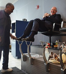 Businessman gets a shoe shine !!! (TBTAOTW2011) Tags: old man black men leather businessman shoe shoes shine dress polish business mature loafers loafer