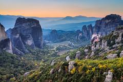 """On Pillars of Stone""  Meteora, Greece (Mark Iandolo) Tags: travel autumn sunset mountains fall tourism church landscape rocks europe unescoworldheritagesite unesco foliage greece monastery meteora"