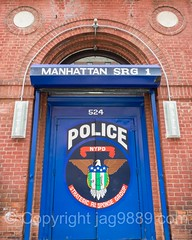 NYPD Strategic Response Group 1 Police Station, Clinton, New York City (jag9889) Tags: door nyc newyorkcity usa house ny newyork building sign architecture unitedstates outdoor manhattan clinton text unitedstatesofamerica group entrance nypd strategic policestation lawenforcement finest response west42ndstreet 2016 firstresponder policedepartment doorpainting newyorkcitypolicedepartment jag9889 20160604