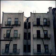 (david sine) Tags: old nyc newyorkcity newyork color building brick 120 tlr film mediumformat apartment kodak manhattan things stuff fireescape portra yashica twinlensreflex scannednegative yashicaa
