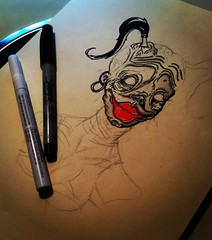 Pretty Woman (ZZFX) Tags: detail art film pencil dark painting paper weird sketch scary paint artist drawing vampire zombie character horror create concept spawn fx darkart spfx zzfx