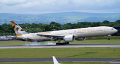 Etihad 777-3FX(ER) A6-ETF. 20/06/16. (Cameron Gaines) Tags: from new november trees summer man mountains green grass rain weather clouds forest manchester during was airport woods december cheshire being painted aircraft n first dry down it hills boeing 14th airways abu dhabi 16th 2009 operating everett touching pennines the livery flew prior heald wythenshawe 2015 egcc delivered etihad 777300 777300er 39700 77w 23r manegcc 7773fxer ey21 a6etf 23r05l a6et