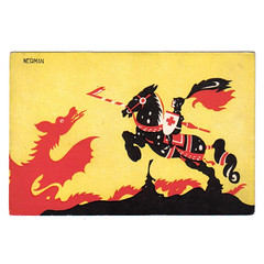 Einar Nerman postcard - George and the dragon (Wooden donkey) Tags: illustration vintage george dragon post postcard card einar nerman