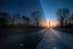 Vietnam Memorial II (It's my whole damn raison d'etre) Tags: morning blue orange alex yellow sunrise dawn dc washington nikon memorial magic vietnam hour hdr d300s erkiletian
