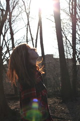 Untitled. 3/52 (shelby gill) Tags: camera red sun color girl sunshine forest self hair out lens solar is energy long flare flannel sunburst straight weeks 52 sooc fouryearstrong