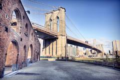 Brooklyn Bridge from down under (Gene Krasko Photography) Tags: newyorkcity bridge usa newyork brooklyn day dumbo bridges clear onceuponatimeinamerica newyorkbridges dumbobrooklyn newyorkarchitecture nikon24mmf28 nikond700