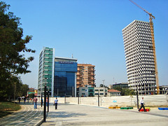 TID Tower, Tirana, Albania (Ferry Vermeer) Tags: street city blue color colour tower colors architecture day colours crane clear highrise balkans albania constructionsite urbanism modernarchitecture urbanplanning trnava balkan modernity tirana tiran albanien tirona albanija albanie 51n4e albanya shqipria tiran infosoft arnavutluk albani albnia albnie albnia       albaniya albnsko     tiranacounty   rrugamurattoptani tidtower qarkuitirans rrethiitirans tiranadistrict rrugageorgewbush geogewbushboulevard murattoptanistreet       shkiperiya iptarska  iptarija  eurocolbusinesscenter torredrin sarajet