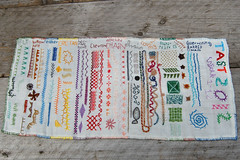 tast 2012 #13 week 1-12 sampler (HGK handmade) Tags: fly needlework stitch handmade embroidery feather running chain stitching chevron embroidered buttonhole detached barred herringbone cretan hgk borduren flystitch tast couching chainstitch alternating chevronstitch featherstitch runningstitch takeastitchtuesday buttonholestitch detachedchain barredchainstitch whippedwheel pintangle alternatingbarredchainstitch tast2012 hetgroenekamertje takeastitchtuesday2012 cretansticth embroidetry herringbonesticth hgkhandmade tast12