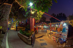 Dilli Haat - New Dehli Market (@Alebi) Tags: wood india colors canon lights evening ribbons mood market indian curves fisheye textile indians marketplace bags rugs tones hdr newdelhi scarfs dillihaat canonef15mmf28 canon5dmarkii
