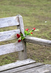 Simple Flowers on Memorial Bench (James Cottrell 1) Tags: uk bridge flowers trees water reeds bench hall pentax south yorkshire cannon istds barnsley cawthorne