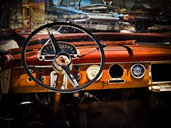 Faded Beauty #11 - Any Road'll Get You There (Kiki FL) Tags: auto ford abandoned car crust orlando junk rust automobile florida antique interior olympus vehicle dashboard collectible salvage zuiko abandonment e5 zd