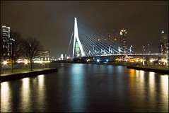 Aan de Maas (zilverbat.) Tags: longexposure nightphotography bridge holland building classic dutch architecture night lights rotterdam focus europa exposure cityscape nightshot nacht nederland thenetherlands lensflare flare montevideo kpn maas 1022mm architectuur erasmusbrug elvin lightroom noordereiland kranen lr3 wideangel waterstad avondopname maasboulevard groothoek hoogbouw maasstad zilverbat hoogbouwarchitecture nederlandlongexposure