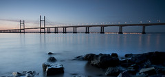 S p a n n i n g   W a t e r s (ƇĦŘĺς ΛΨŁЩΛŘĐ ƤĦŎŦŎƓƦΛƤĦϔ) Tags: bridge winter england beauty sunshine wales architecture sunrise river bristol early colours crossing motorway south estuary severn gateway waters welsh m4 vast spanning sudbrook redwick hdcymru
