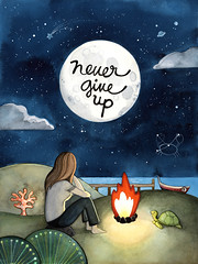 Never give up! ({JooJoo}) Tags: sea sky inspiration love beach girl coral illustration night dark watercolor painting stars fire hope boat turtle quote moonlight motivation encouragement joojoo afsanehtajvidi joojooland