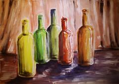Colour bottles (Olga Parfenova) Tags: life red orange colour green yellow watercolor paper bottle still rainbow gouache