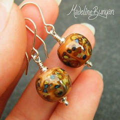 """Earrings - Autumnal frit Swirls • <a style=""""font-size:0.8em;"""" href=""""https://www.flickr.com/photos/37516896@N05/6976009437/"""" target=""""_blank"""">View on Flickr</a>"""