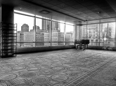 lonely piano (nosha) Tags: new city light bw usa window beautiful beauty hotel jerseycity piano nj jersey jerseyshore 2012 lightroom photomatix nosha epl3 jerseycitynewjerseyusa