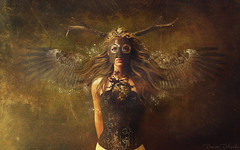 The heart clock bleeding (Desire Delgado) Tags: clock girl hair wings chica heart mask alma surreal sueos fantasy soul alas dreams reloj mascara horn cuernos corazon pelo steampunk surrealismo desireedelgado