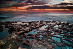 life on TITAN (MontesinosKevin) Tags: longexposure morning blue sunset sea sky seascape beach water sunrise landscape fire early australia splash australie lightroom longexpo