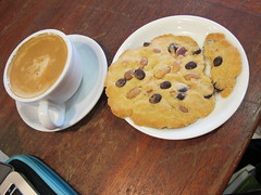 Reflecting on research with a soy latte & choc/almond cookie :) (Rain Rabbit) Tags: vegan cookie soy latte