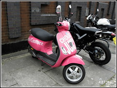 Piaggio Scooter (Alan B Thompson) Tags: 2014 olympus sp590uz colchester motorbike pink picassa