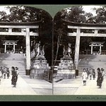 GIANT FOXES WATCH THE SHRINE KIDS UNDER A TORII GATE -- A Scene in OLD KYOTO, JAPAN thumbnail