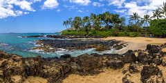 Secret Beach (clarsonx) Tags: panorama water clouds landscape hawaii lava sand rocks surf day cloudy shoreline secretbeach maui explore palmtrees pacificocean shore makena weddingbeach makenacove paakocove