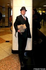 Dr. Takeshi Yamada and Seara (Coney Island Sea Rabbit) at the New York Penn Station in Manhattan, NY on May 13, 2015.  20150513 143=C2 (searabbits23) Tags: ny newyork sexy celebrity rabbit art hat fashion animal brooklyn asian coneyisland japanese star tv google king artist dragon god manhattan famous gothic goth uma ufo pop taxidermy vogue cnn tuxedo bikini tophat unitednations playboy entertainer oddities genius mermaid amc mardigras salvadordali performer unicorn billclinton seamonster billgates aol vangogh curiosities sideshow jeffkoons pennstation globalwarming mart magician takashimurakami pablopicasso steampunk damienhirst cryptozoology freakshow seara immortalized takeshiyamada roguetaxidermy searabbit barrackobama ladygaga climategate  manwithrabbit