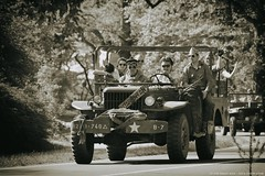 Celebrating liberation day... (ParadoX_Design) Tags: road people blackandwhite monochrome car truck star day driving jeep united w canadian wc vehicle soldiers dodge actor passenger shotgun annas liberation hilversum reenactment troops willys hoeve liberators militairy g502