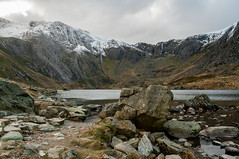 The Devils Kitchen (Lee~Harris) Tags: uk mountain lake mountains water rock wales landscape rocks snowcapped rugged rockformation snowcappedmountains cwmidwal