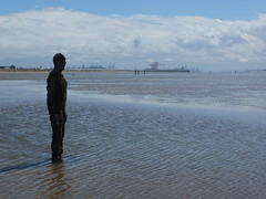 One of the Iron men in Anthony Gormley's Another Place (SierPinskiA) Tags: liverpool anthonygormley anotherplace crosbybeach blundellsands fujixs1