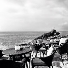 Tranquility | #iphoneography #iphonesia #iphone4s #twittey... (jen_journal) Tags: bali seascape nature monochrome jj noir chairs tables blacknwhite photooftheday ignation iphoneography igers iphone4s iphonesia igdaily instagramhub instagood instago uploaded:by=flickstagram instagram:photo=1372291725917348361047475 twittey888