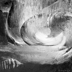 The Silver Egg (Lemon~art) Tags: life bw white fish abstract black texture water silver flow waterfall movement air egg stripe manipulation monotone photomontage layers balance splash magical swirling newlife circleoflife
