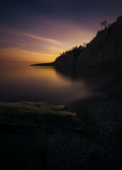 login to Mother Nature (Todd Murrison (Whitby61)) Tags: 10stopfilter 1635mmf4 bwnd110 canada lakeontario longexposure may2016 ontario scarboroughbluffsblufferpark spring toronto beach canon6d clouds log rocky shoreline water logintomothernature goldenhour 3minutes silhouettes cliffs blufferspark reflections toddmurrison