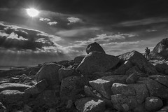 In the mountains - D8E_0014bw (Viggo Johansen) Tags: sky blackandwhite mountains monochrome norway clouds rocks photographer sunbeams rogaland strandkommune
