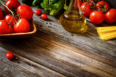 Italian food ingredients on rustic wooden backdrop (Arx0nt.) Tags: wood red food white green cooking kitchen fruits vegetables yellow tomato menu table cuisine wooden salad healthy italian raw natural background space board traditional cucumber rustic olive tasty pasta fresh meal oil garlic basil backdrop onion copyspace spaghetti nutrition ingredient selectivefocus