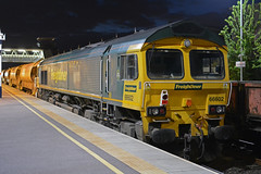 66602 at loughborough with a ballast train bound for toton when the possesion ends (I.Wright Photography over 2 million views thanks) Tags: train for with when possesion bound loughborough ballast ends toton 66602