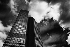 black Frankfurt (in-dependence) Tags: street city blackandwhite bw art architecture clouds 35mm germany photography frankfurt sigma bank passion deutschebank lightroom weitwinkel