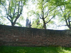 Cathedral behind citywalls, 2016 May 23 (Dunnock_D) Tags: uk trees england green grass cathedral unitedkingdom britain chester walls citywals