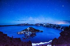 Midnight Blue (Tom Fenske Photography) Tags: blue sky night oregon stars island volcano nationalpark craterlake wilderness astrometrydotnet:status=failed astrometrydotnet:id=nova1616601