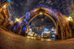 Wizarding World of Harry Potter: Entrance to Hogsmeade (Hamilton!) Tags: world night train islands orlando pod long exposure gorilla florida harry potter fisheye adventure express universal studios hogwarts hogsmeade joby gorillapod rokinon wizarding rokinon8mm rokinon8mmf35 rokinon8mm35